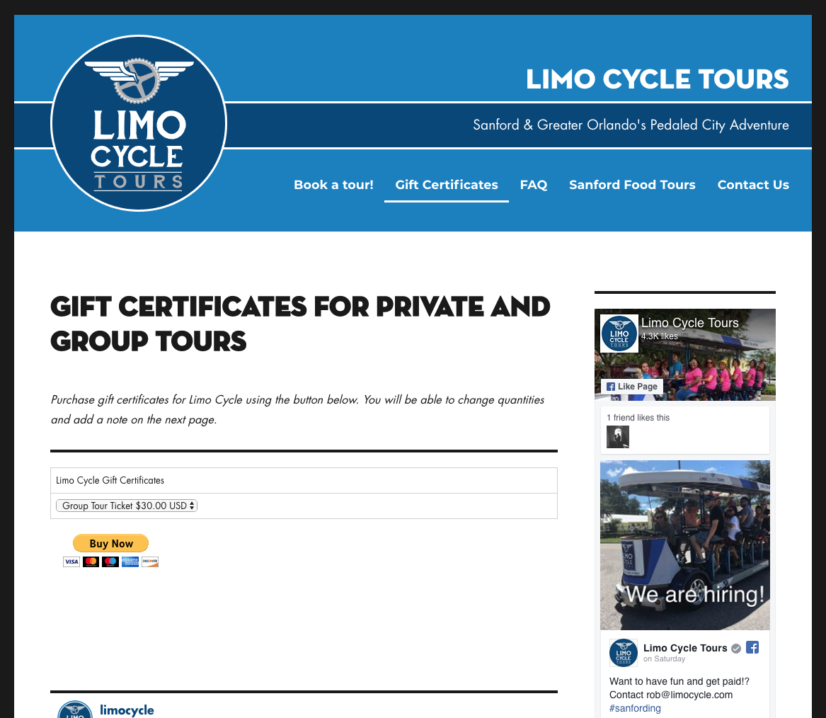 Limo Cycle Gift Certificates