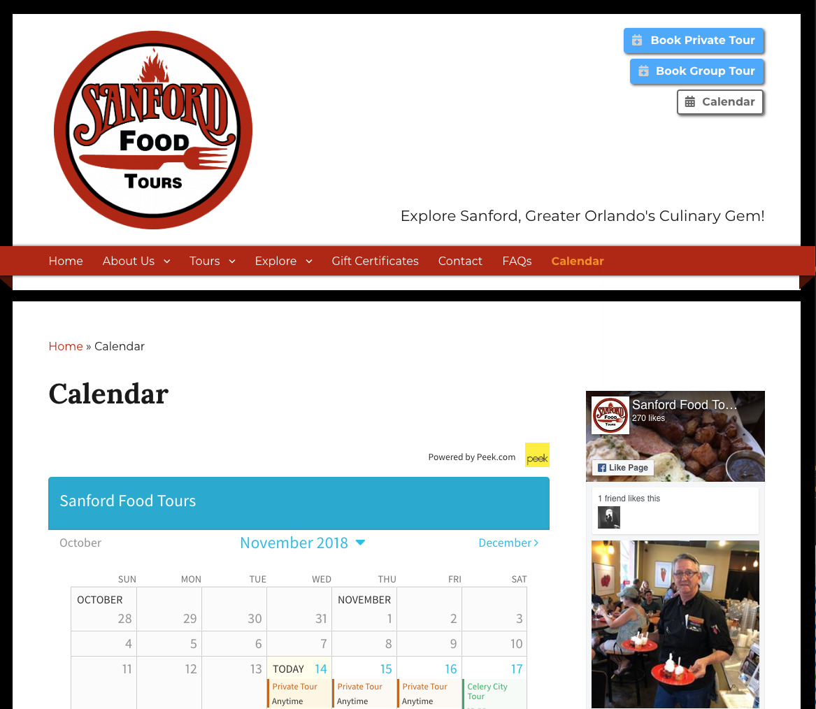 Sanford Food Tours Calendar